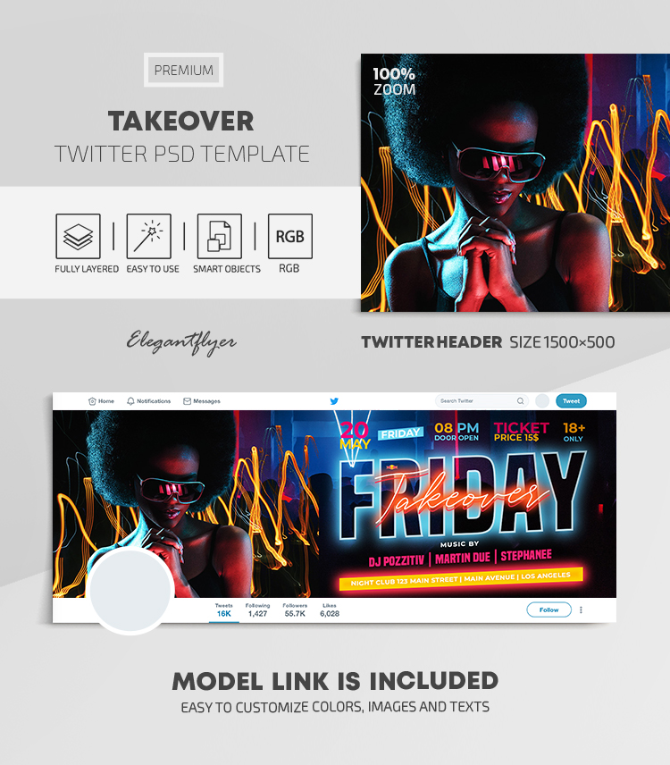 Friday Takeover Party – Twitter Header PSD Template