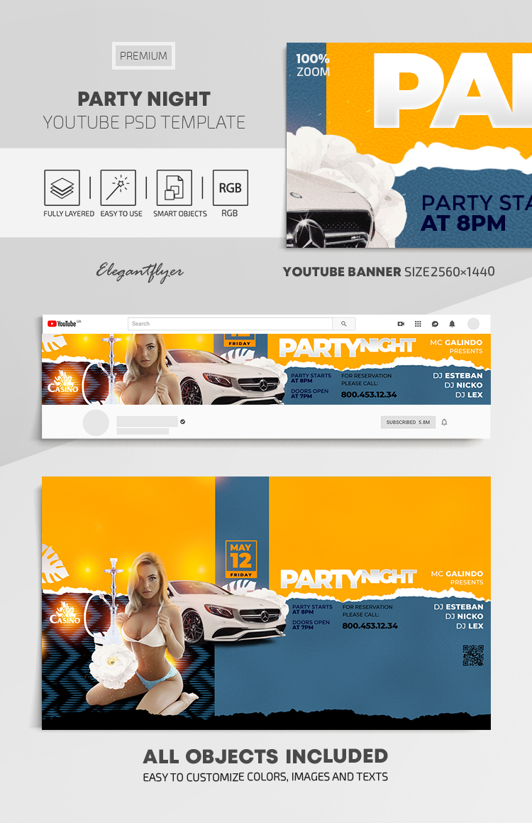 Party Night – Youtube Channel banner PSD Template