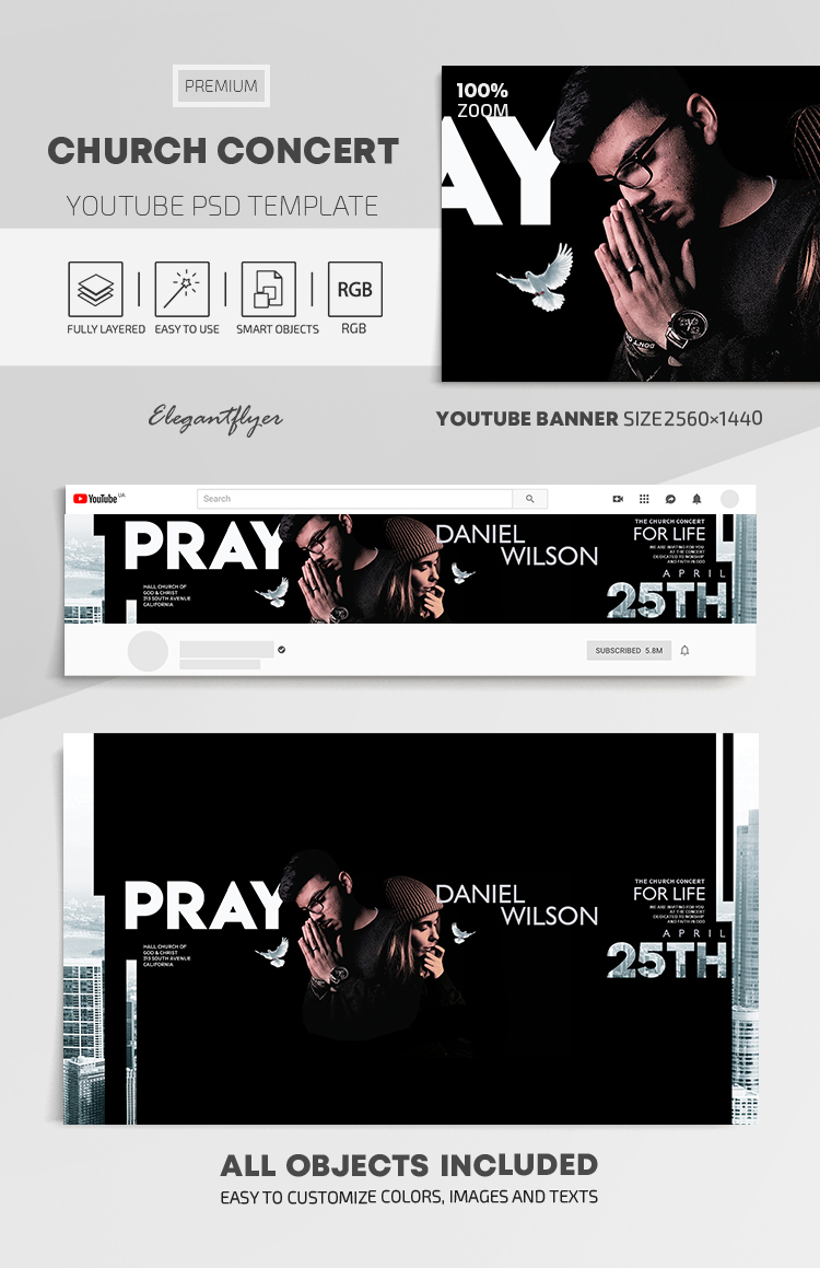 Church Concert – Youtube Channel banner PSD Template