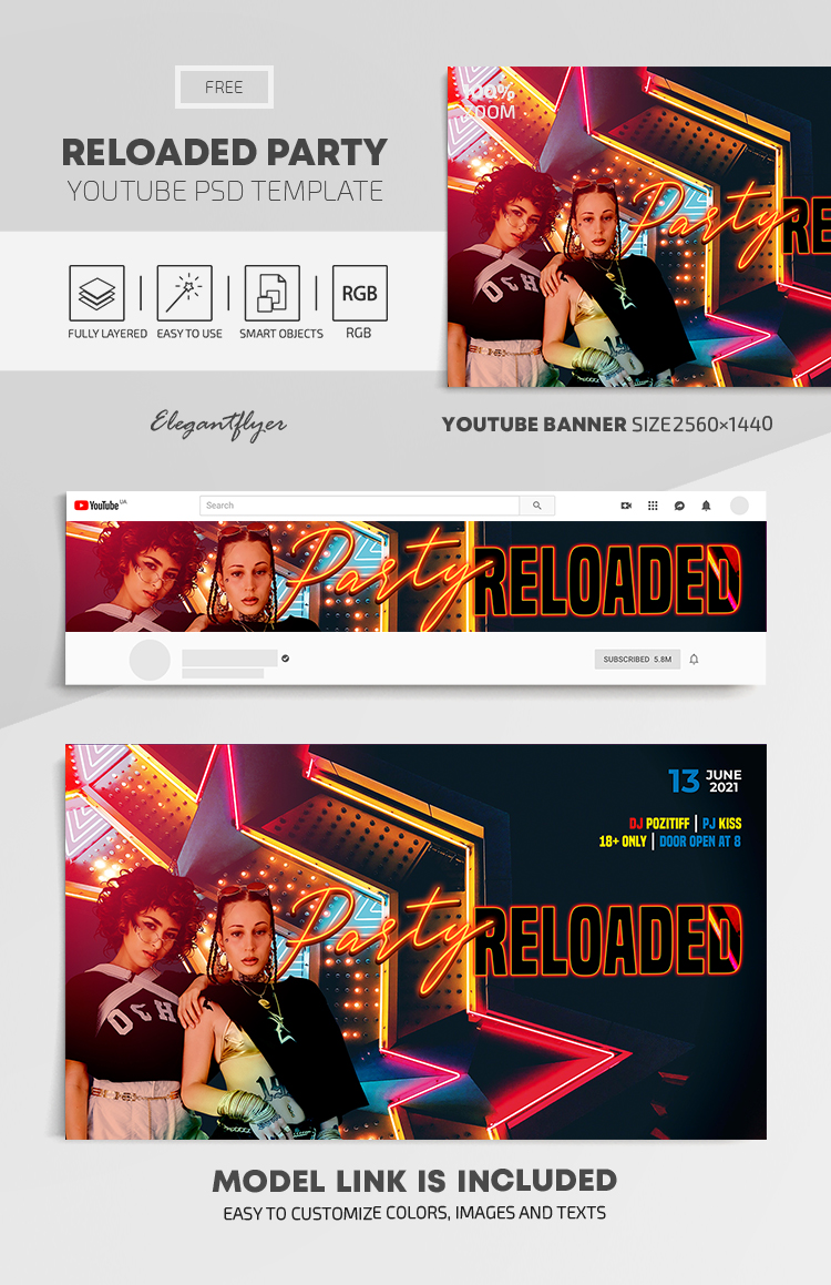 Reloaded Party – Free Youtube Channel banner PSD Template
