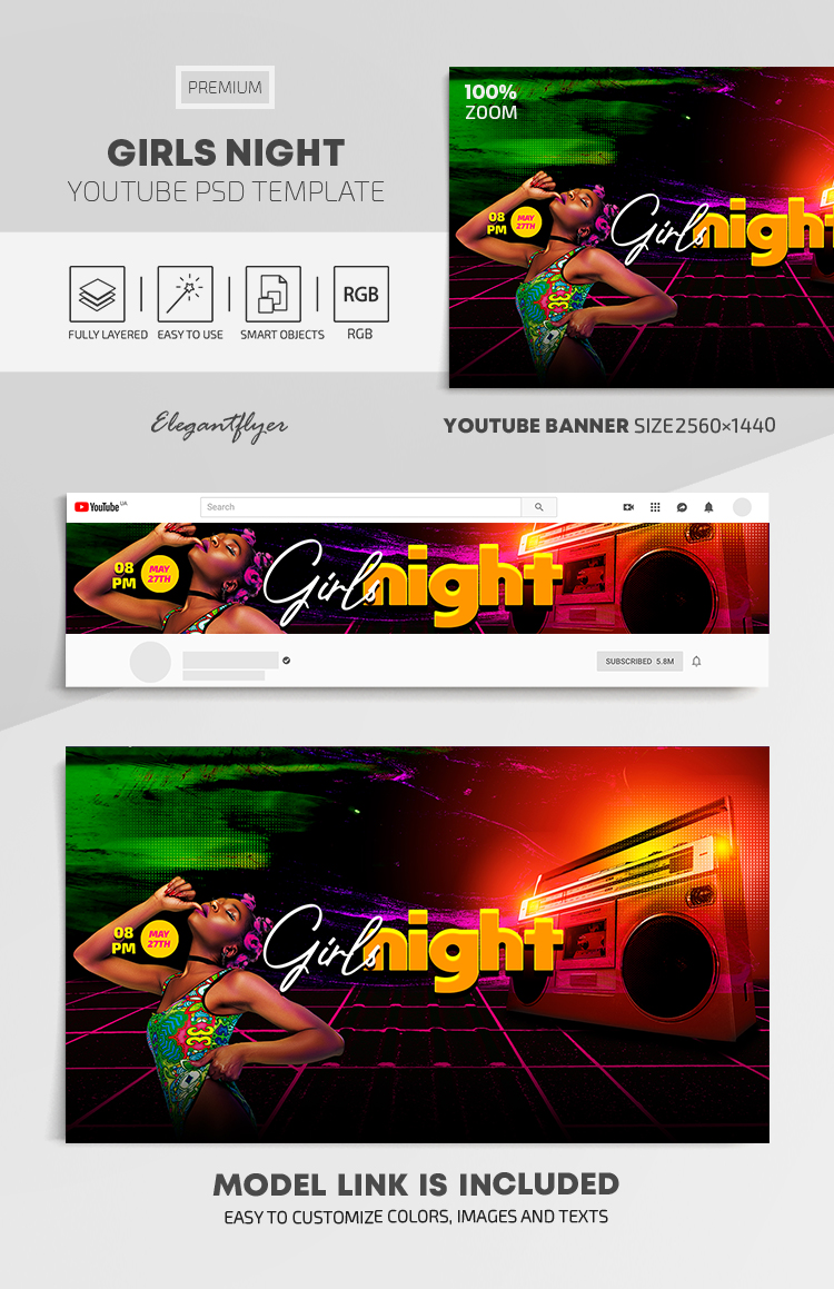 Girls Night – Youtube Channel banner PSD Template