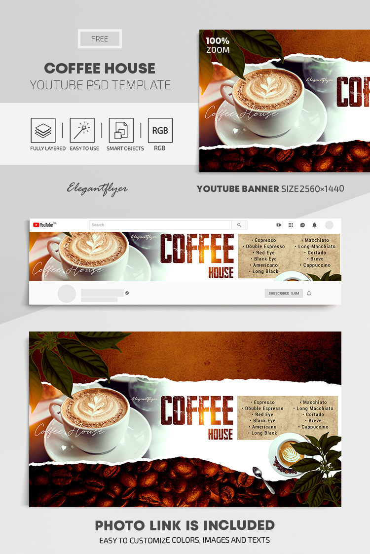 Coffee House – Free Youtube Channel banner PSD Template