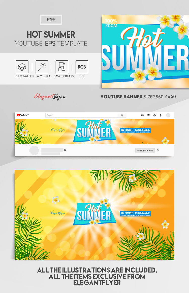 Hot Summer – Free Vector Youtube Channel banner EPS Template