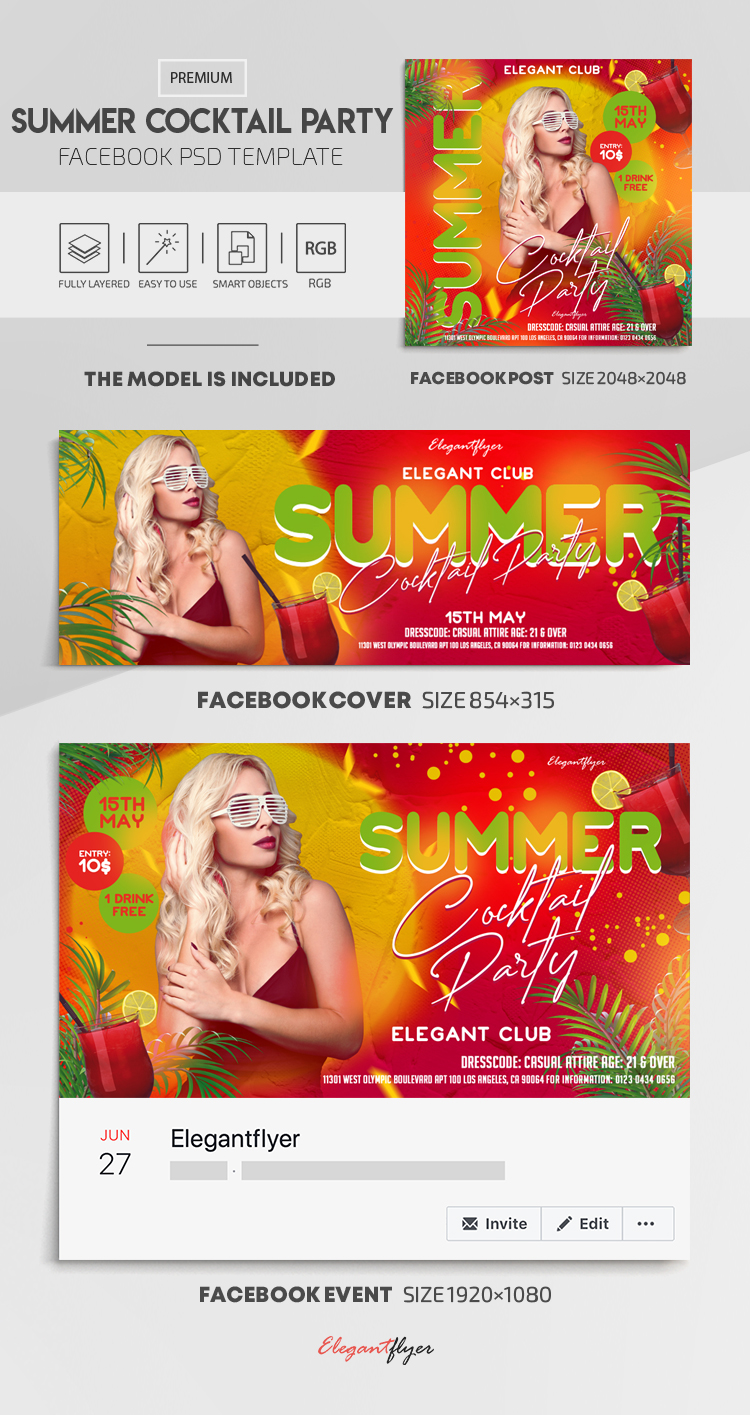 Summer Cocktail Party – Facebook Cover Template in PSD + Post + Event cover