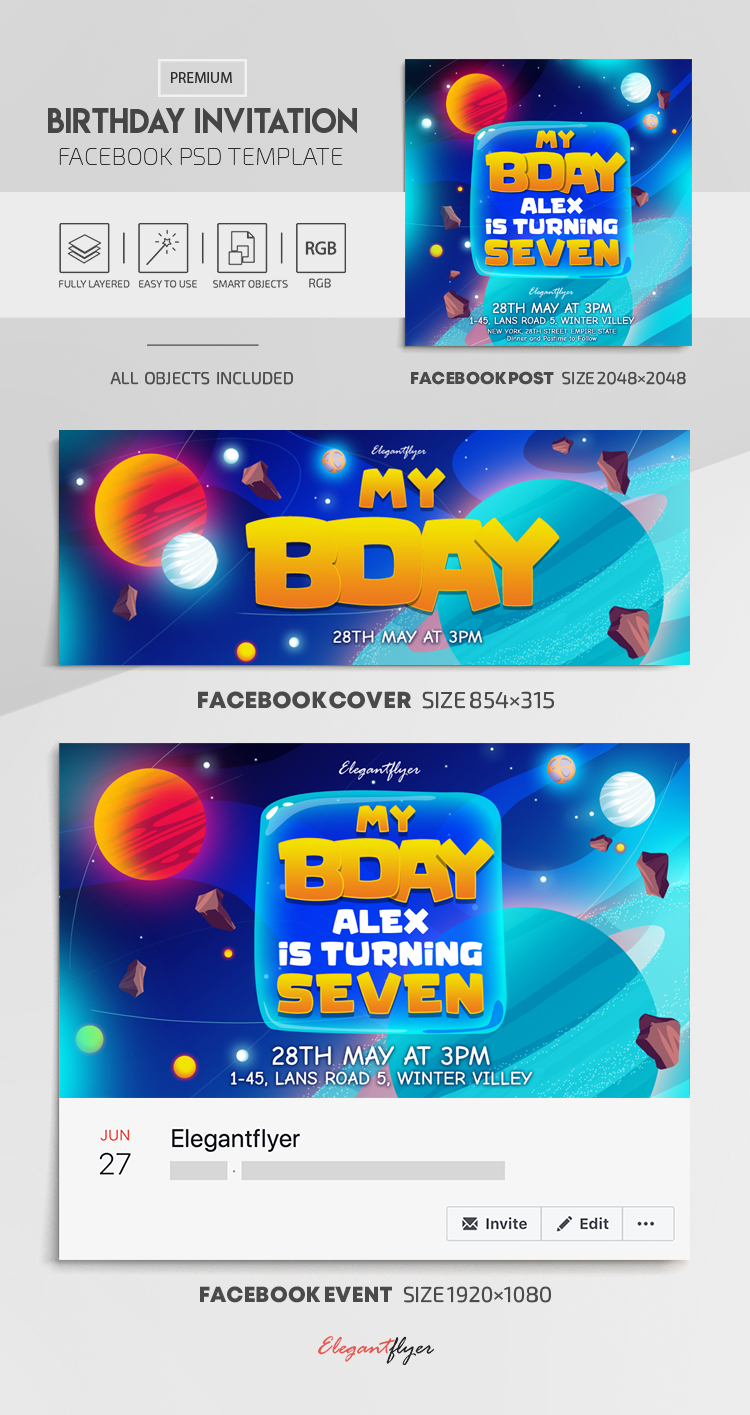 Kids Birthday Invitation – Facebook Cover Template in PSD + Post + Event cover