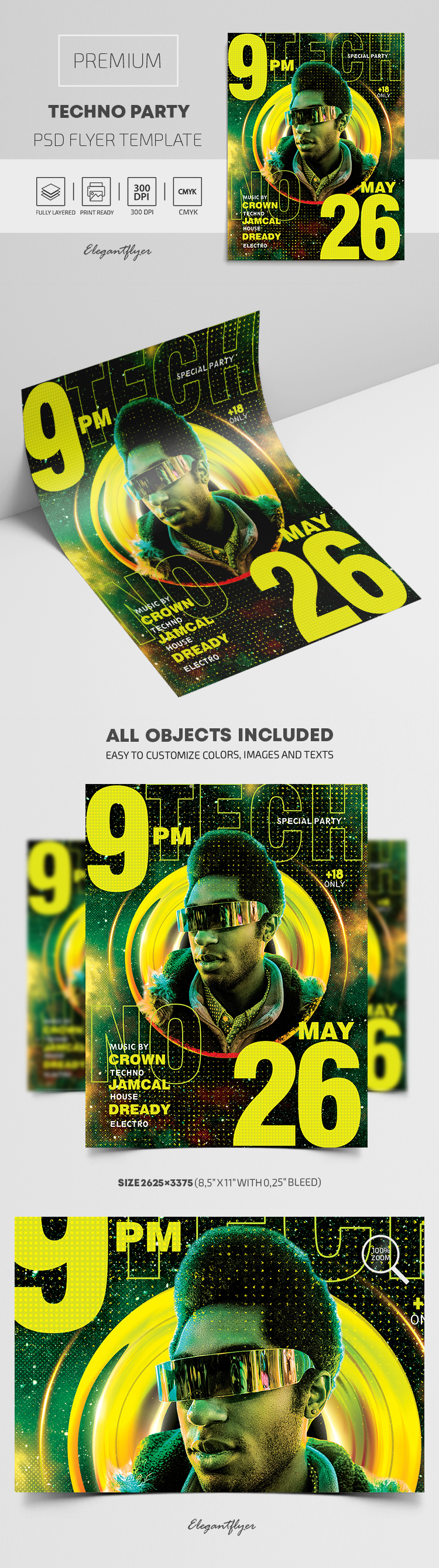 Techno Party – Premium PSD Flyer Template