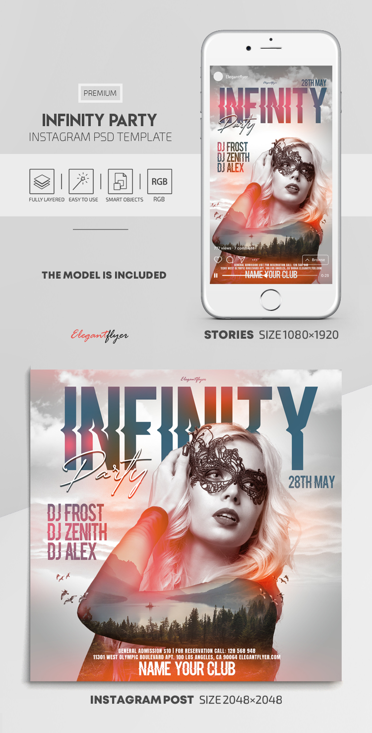 Infinity Party – Instagram Stories Template in PSD + Post Templates