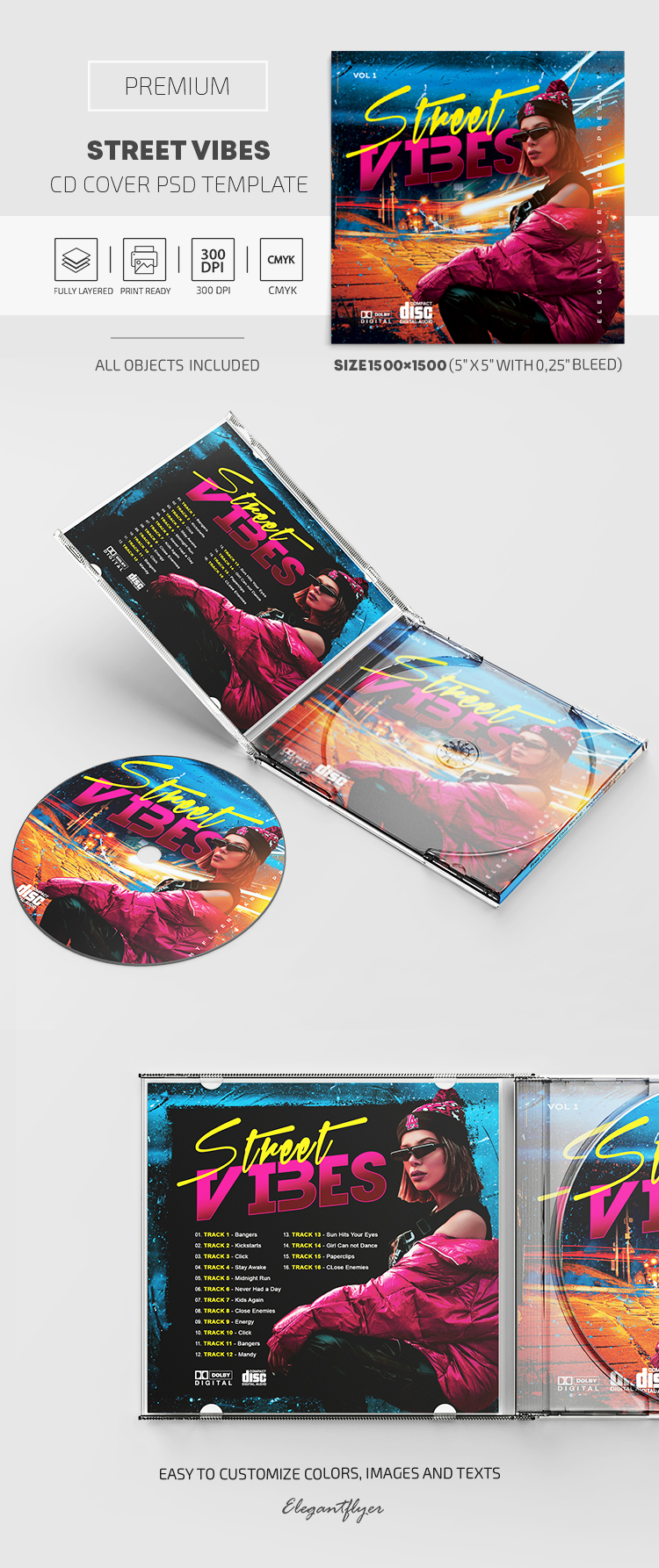 Street Vibes  – Premium CD Cover PSD Template