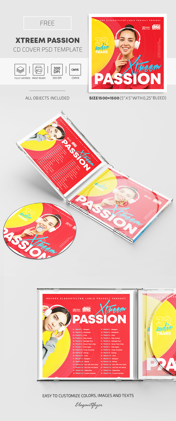 Xtreem Passion – Free CD Cover PSD Template