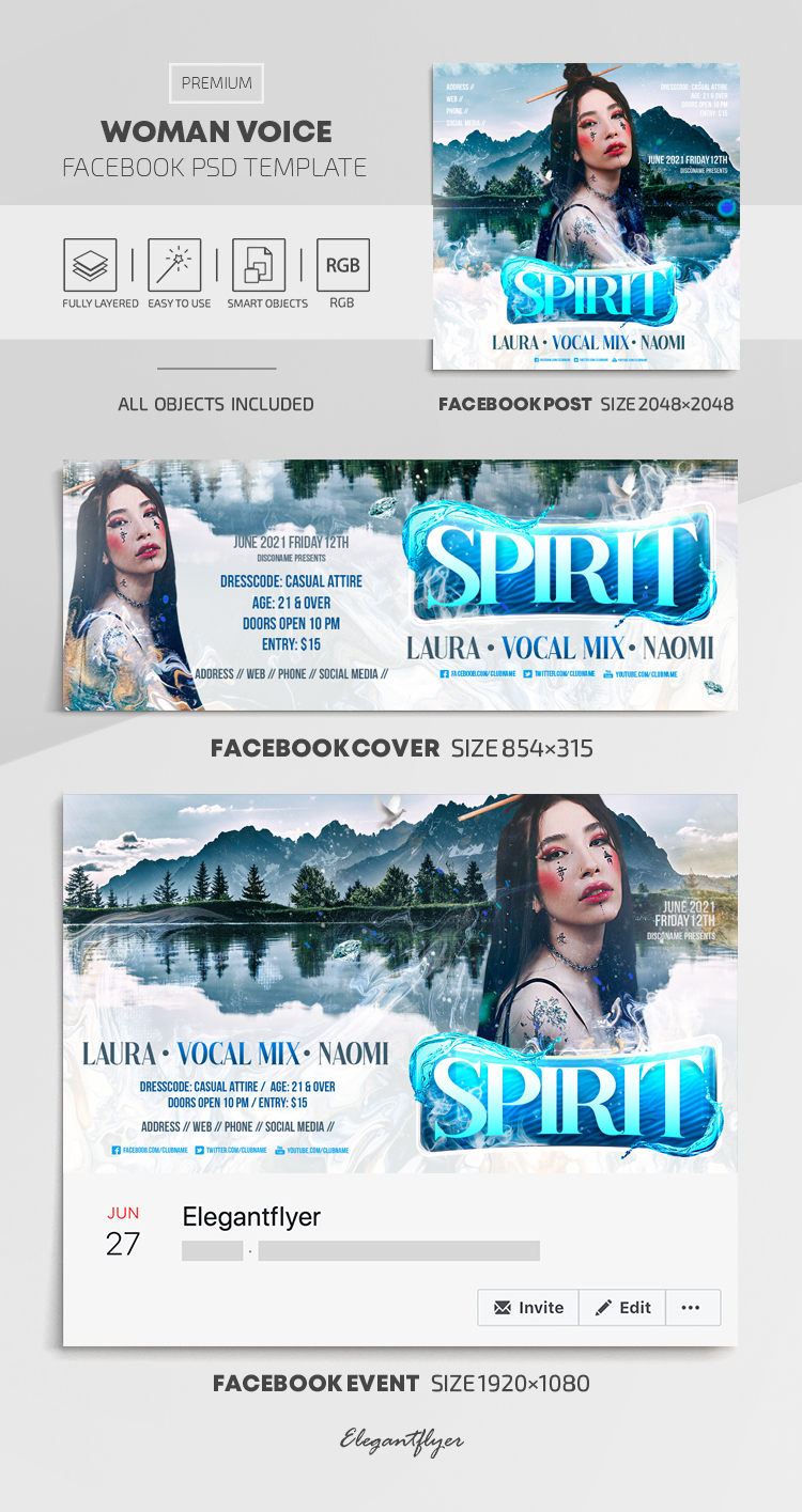 Woman Voice – Facebook Cover Template in PSD + Post + Event cover
