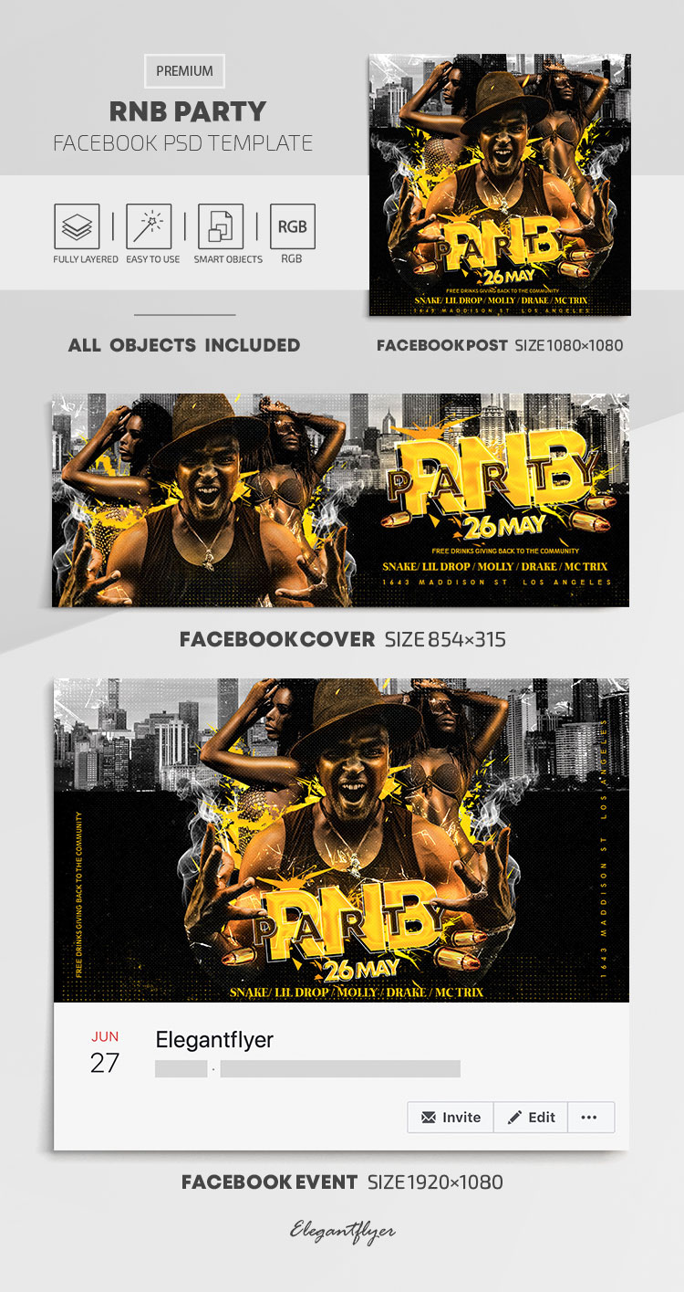 RnB Party – Facebook Cover Template in PSD + Post + Event cover