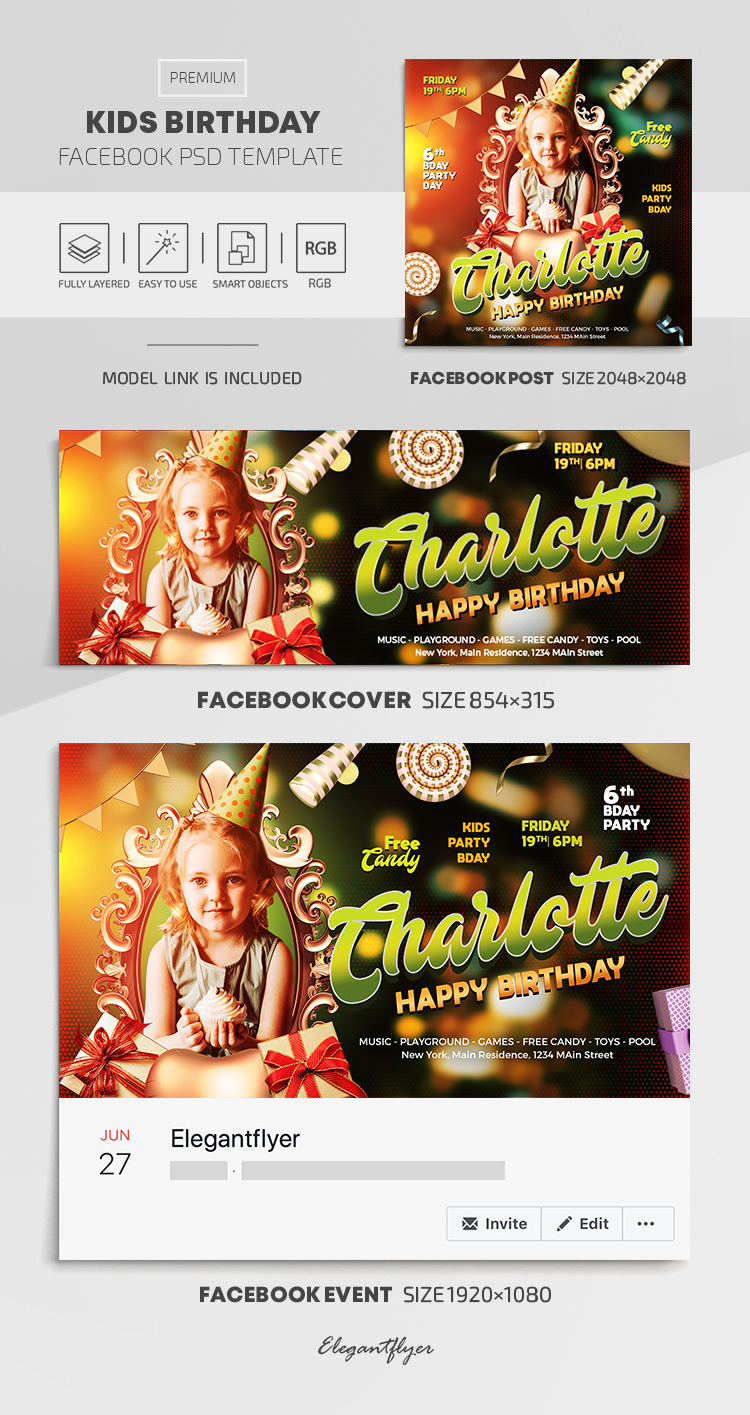 Kids Birthday – Facebook Cover Template in PSD + Post + Event cover