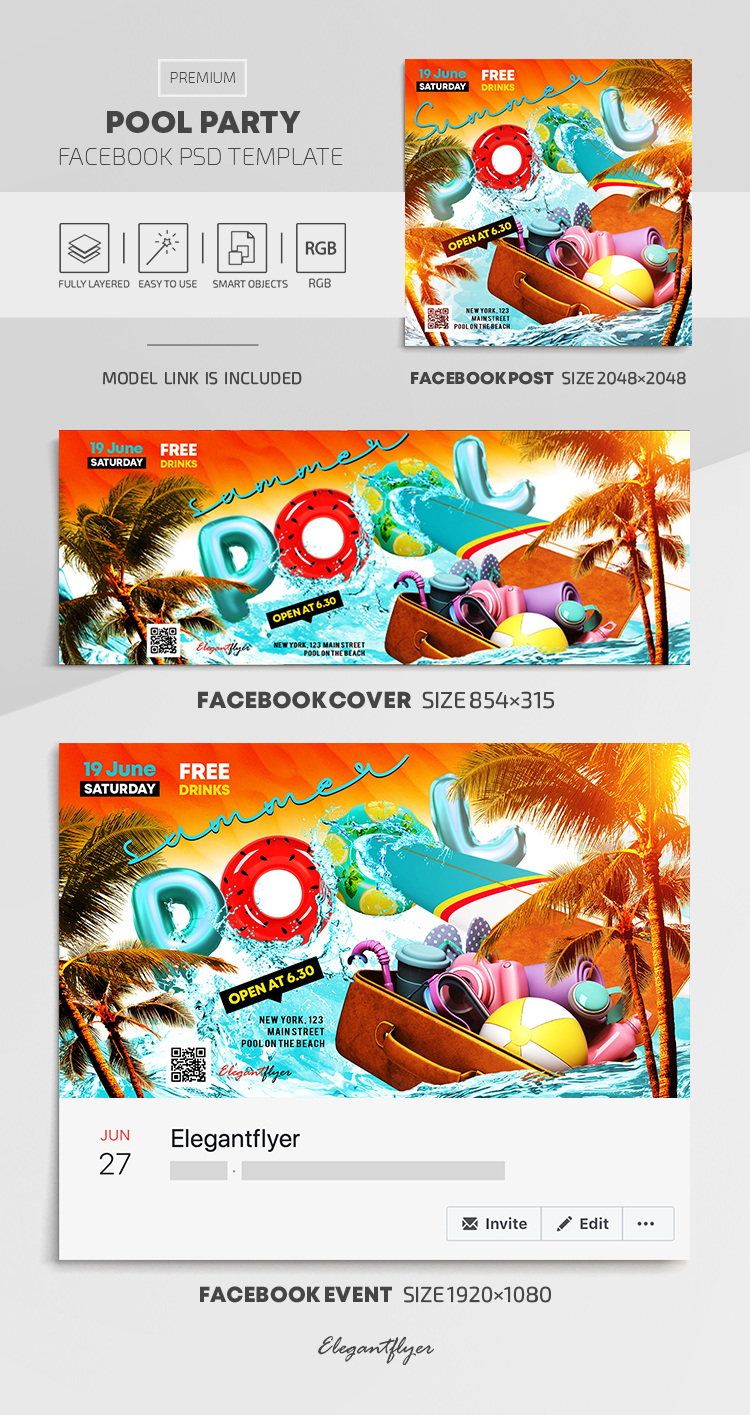 Summer Pool Party – Facebook Cover Template in PSD + Post + Event cover