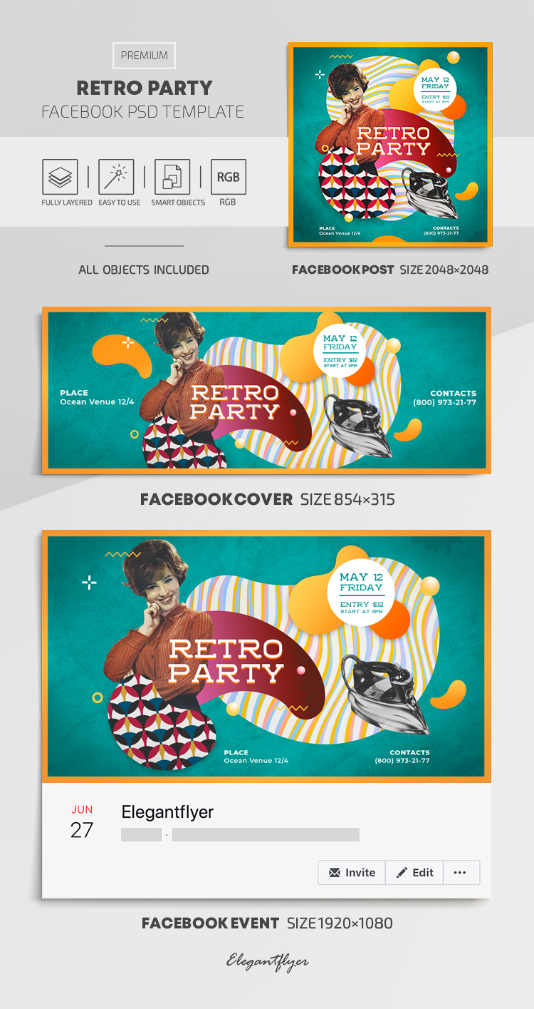 Retro Party – Facebook Cover Template in PSD + Post + Event cover