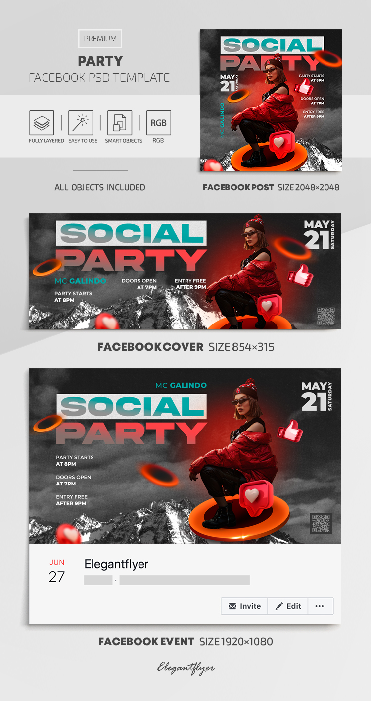 Party – Facebook Cover Template in PSD + Post + Event cover