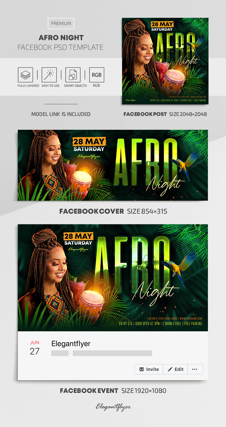 Afro Night – Facebook Cover Template in PSD + Post + Event cover
