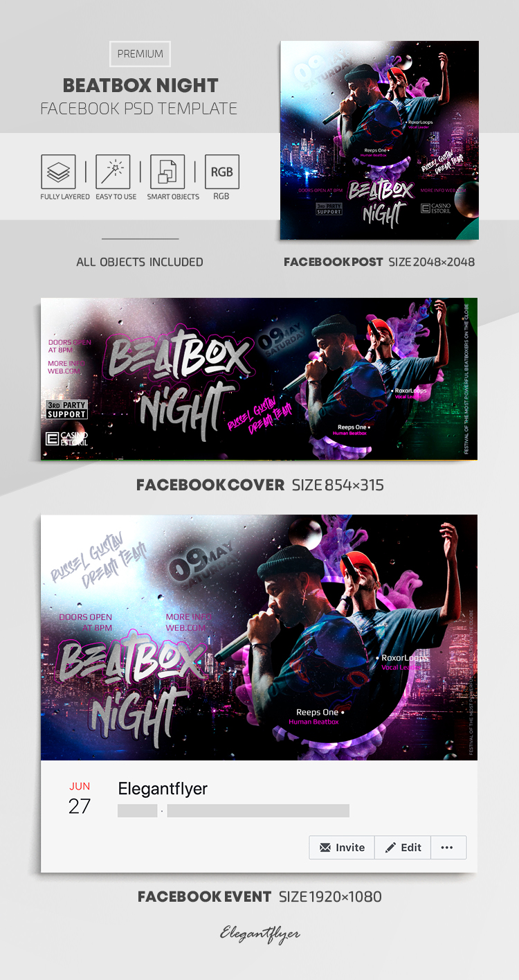 Beatbox Battle – Facebook Cover Template in PSD + Post + Event cover