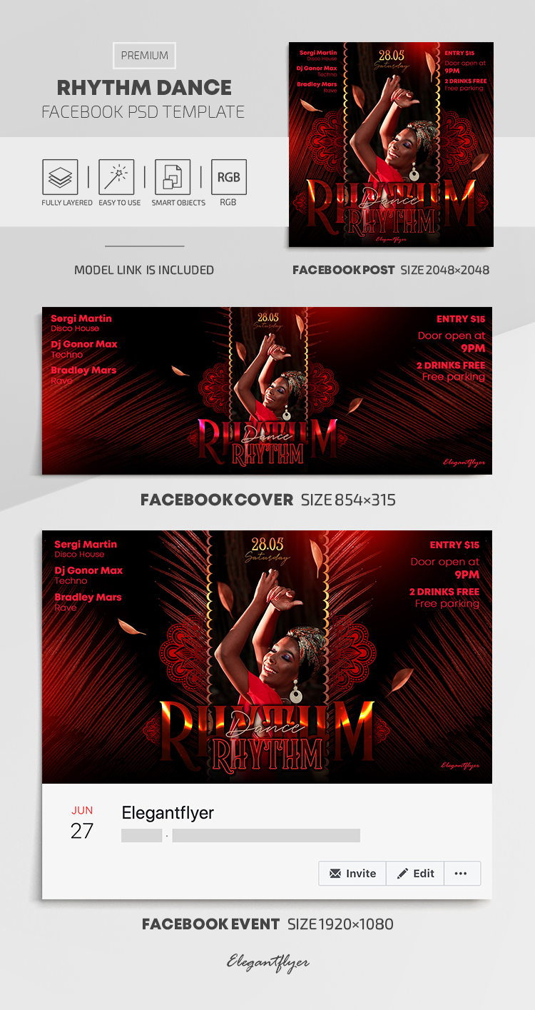Rhythm Dance – Facebook Cover Template in PSD + Post + Event cover