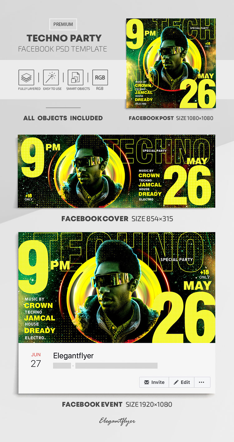 Techno Party – Facebook Cover Template in PSD + Post + Event cover