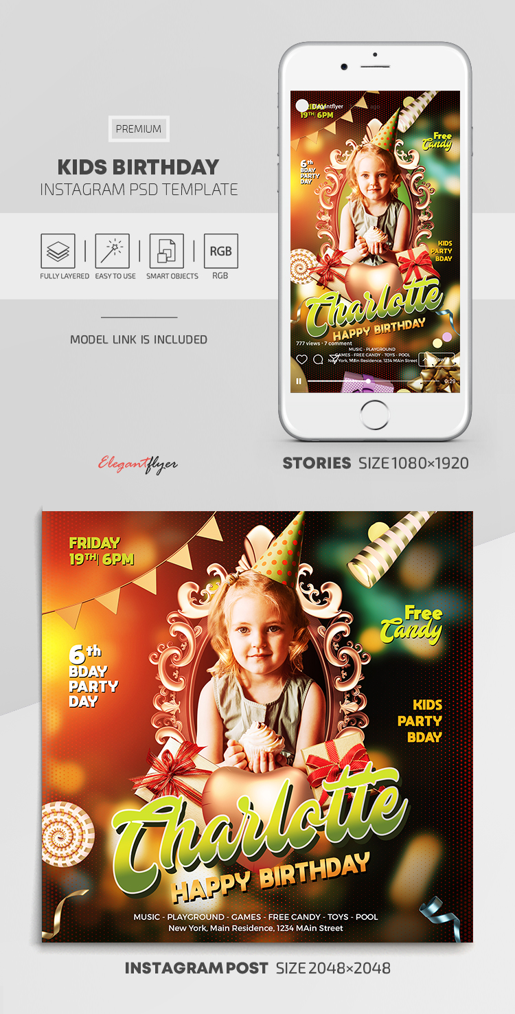Kids Birthday – Instagram Stories Template in PSD + Post Templates
