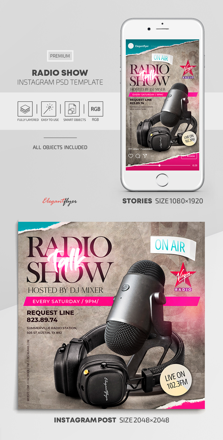 Radio Show – Instagram Stories Template in PSD + Post Templates