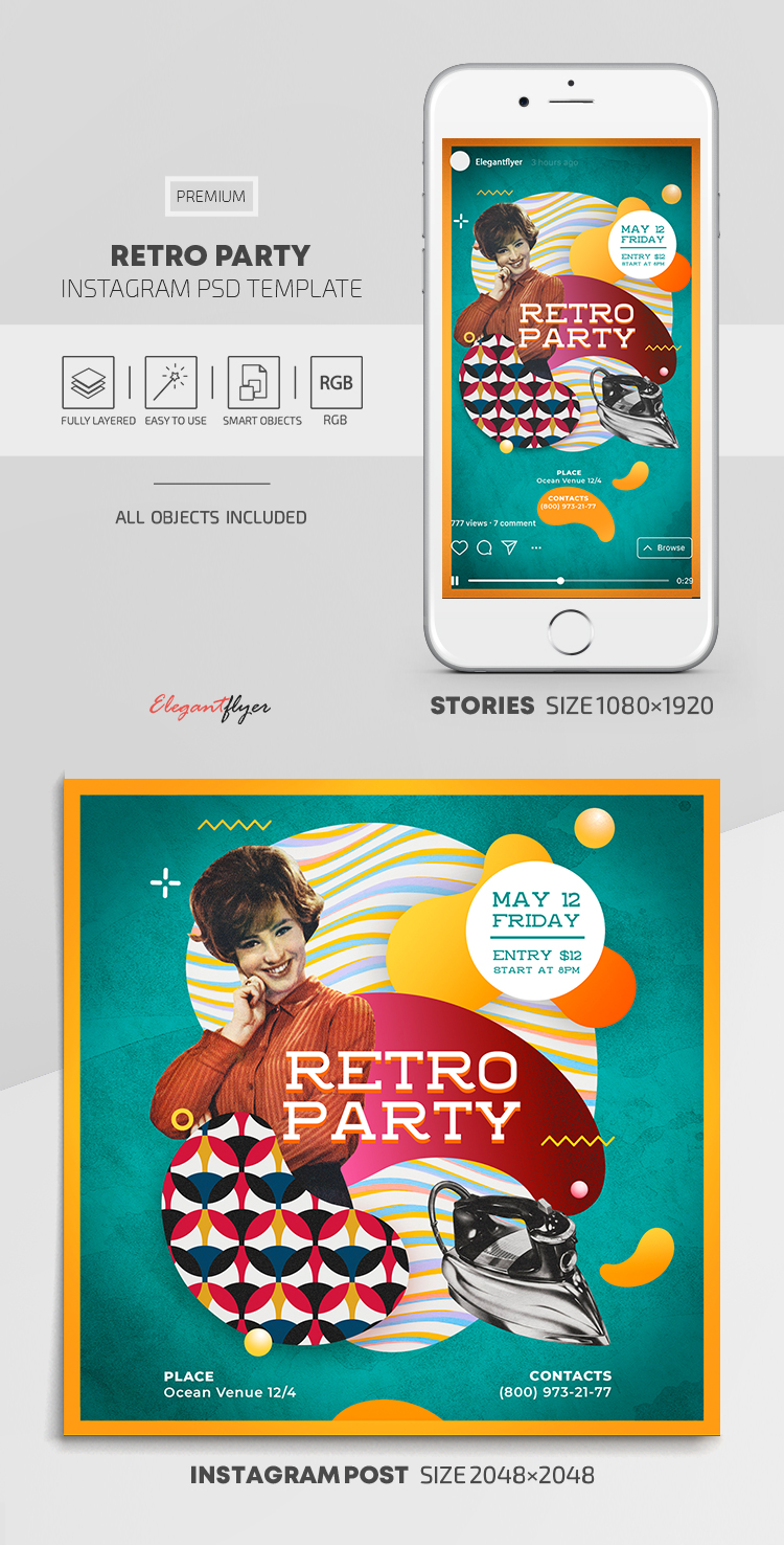 Retro Party – Instagram Stories Template in PSD + Post Templates