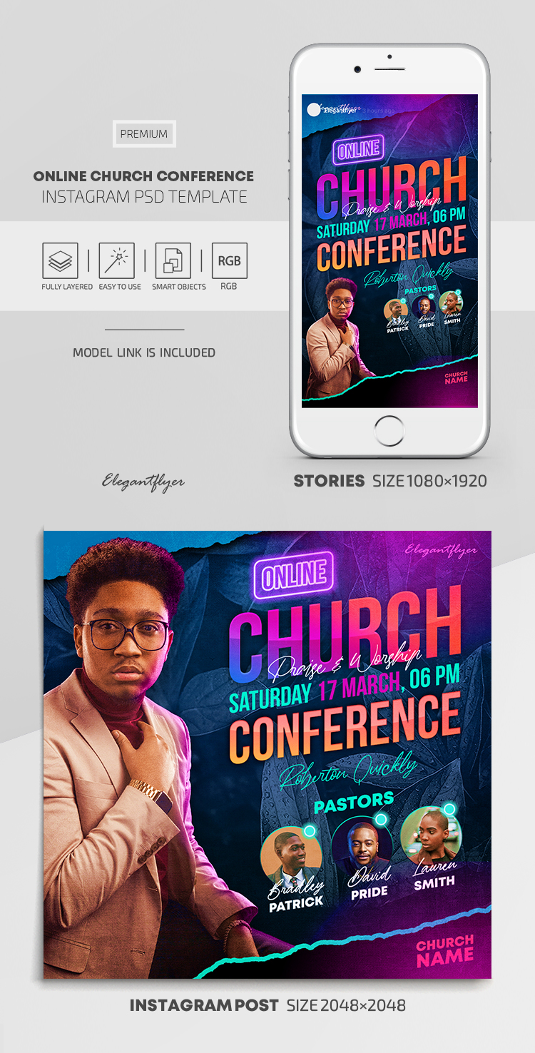 Online Church Conference – Instagram Stories Template in PSD + Post Templates