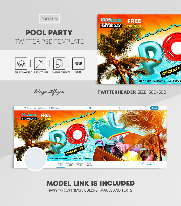 Summer Pool Party – Twitter Header PSD Template