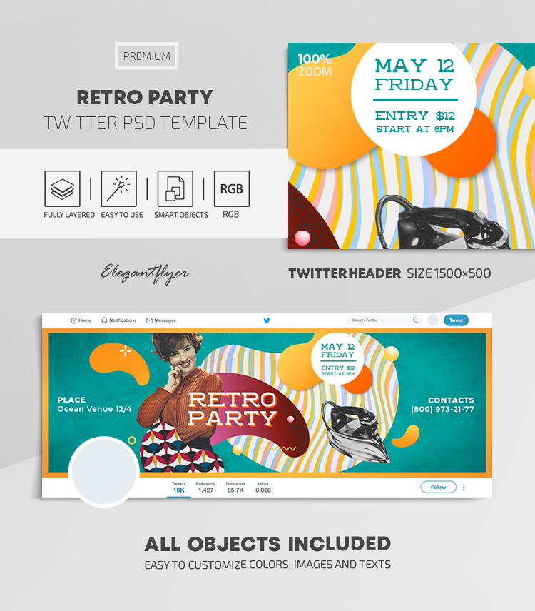 Retro Party – Twitter Header PSD Template