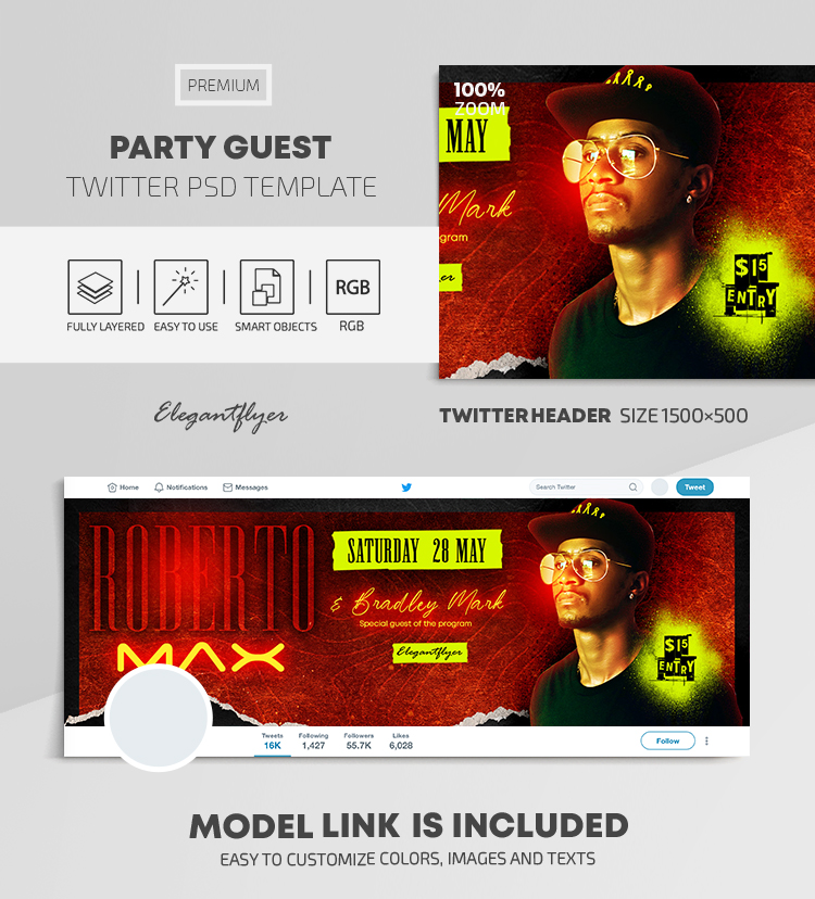Party Guest – Twitter Header PSD Template