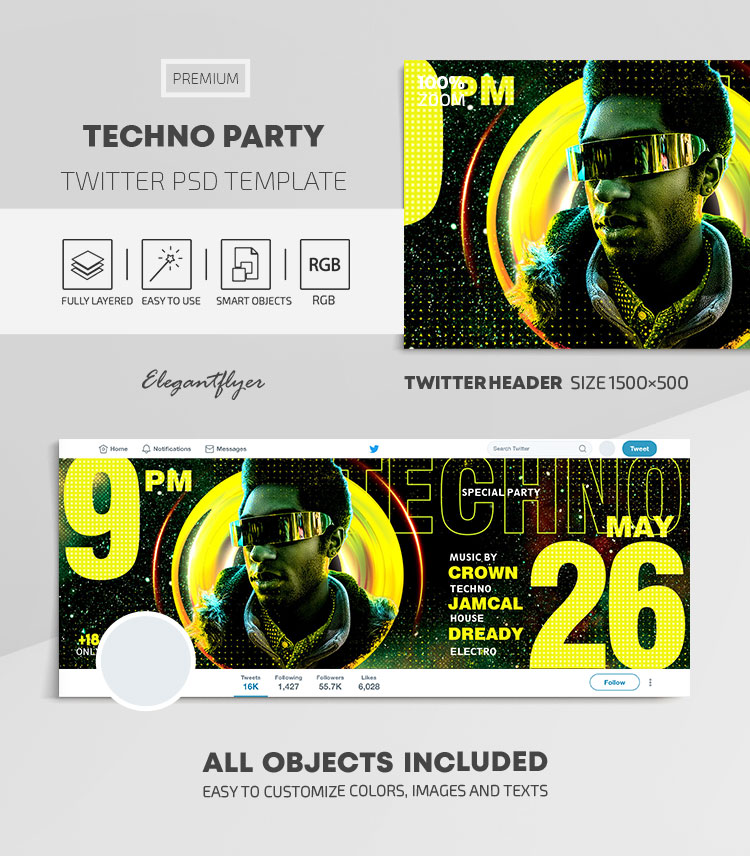 Techno Party – Twitter Header PSD Template