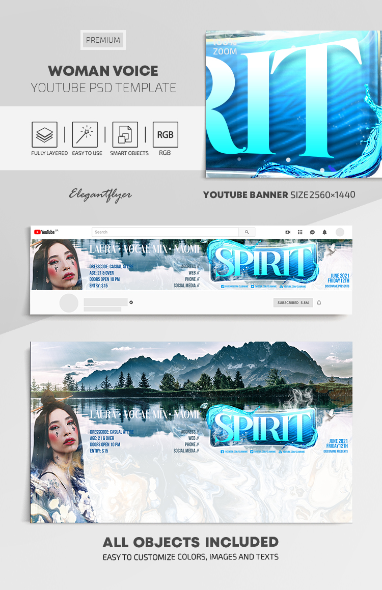 Woman Voice – Youtube Channel banner PSD Template