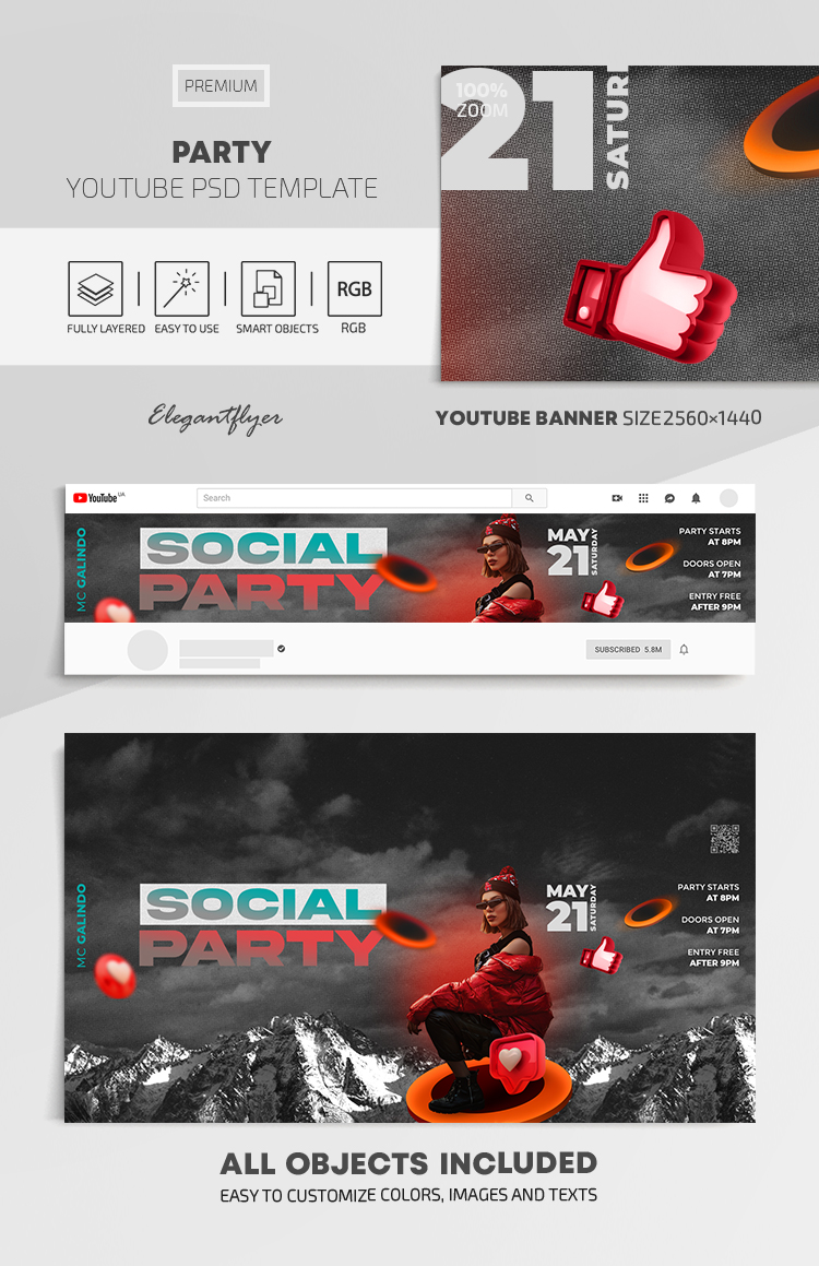 Party – Youtube Channel banner PSD Template