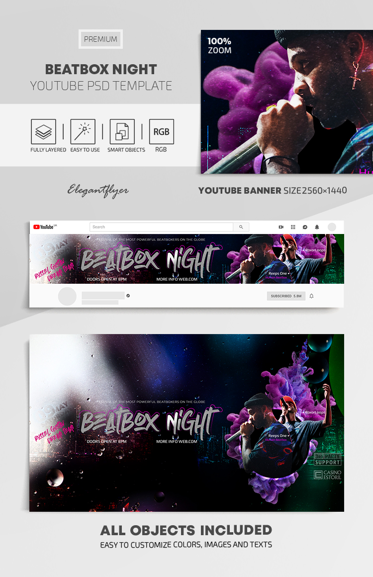 Beatbox Battle – Youtube Channel banner PSD Template