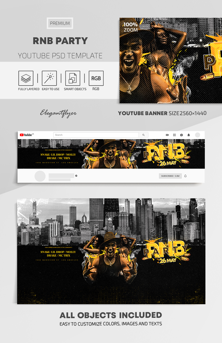 RnB Party – Youtube Channel banner PSD Template