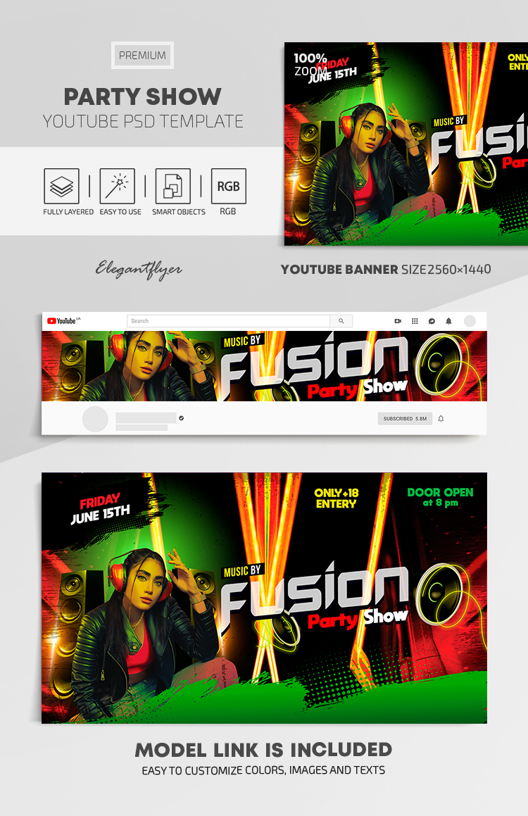 Party Show – Youtube Channel banner PSD Template