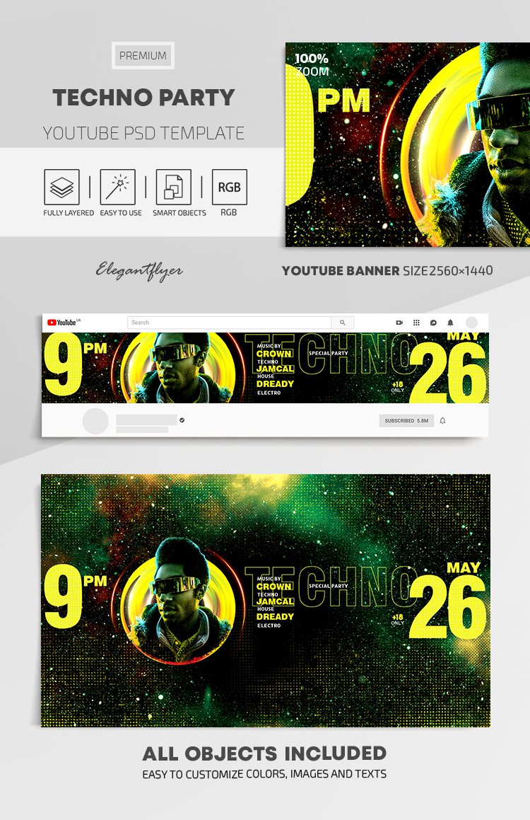 Techno Party – Youtube Channel banner PSD Template