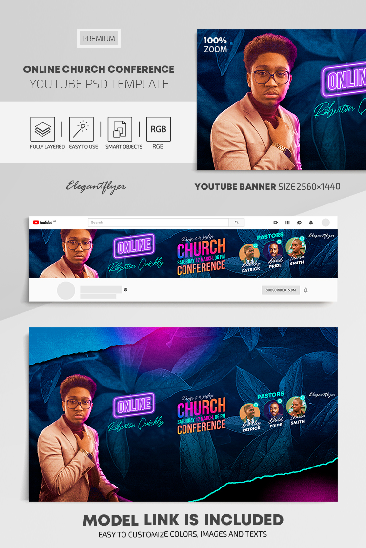 Online Church Conference – Youtube Channel banner PSD Template