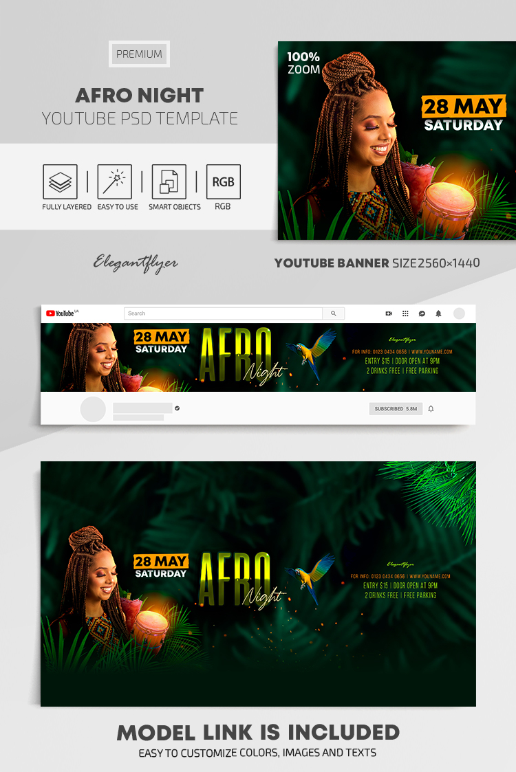 Afro Night – Youtube Channel banner PSD Template