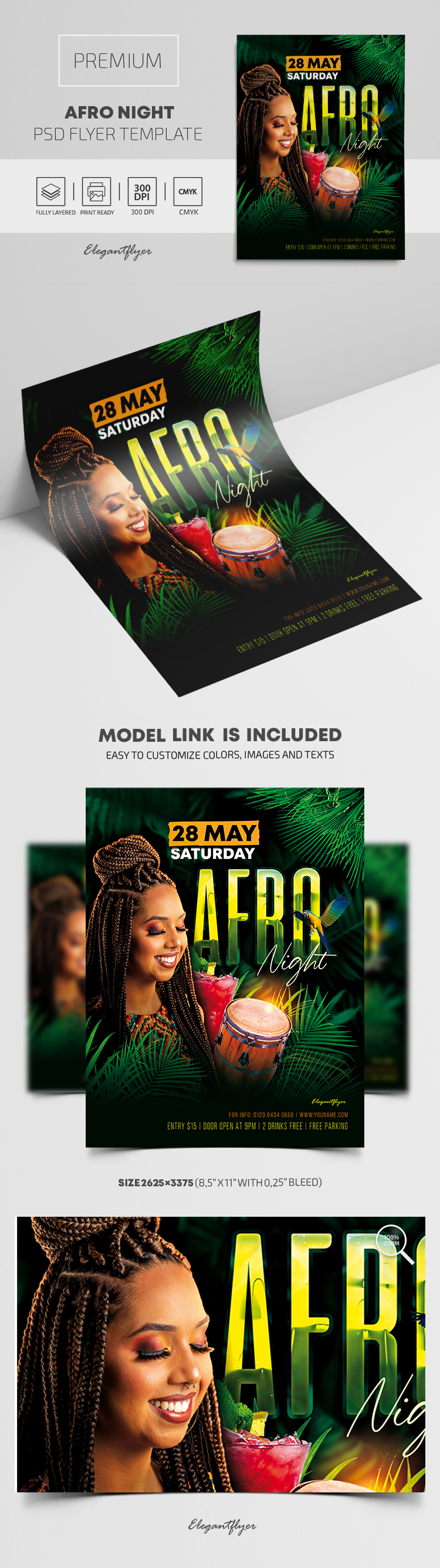 Afro Night – Premium PSD Flyer Template