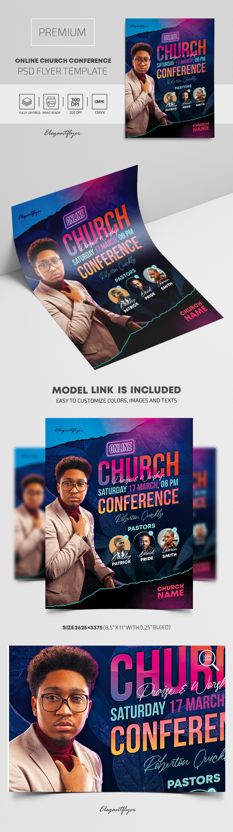 Online Church Conference – Premium PSD Flyer Template