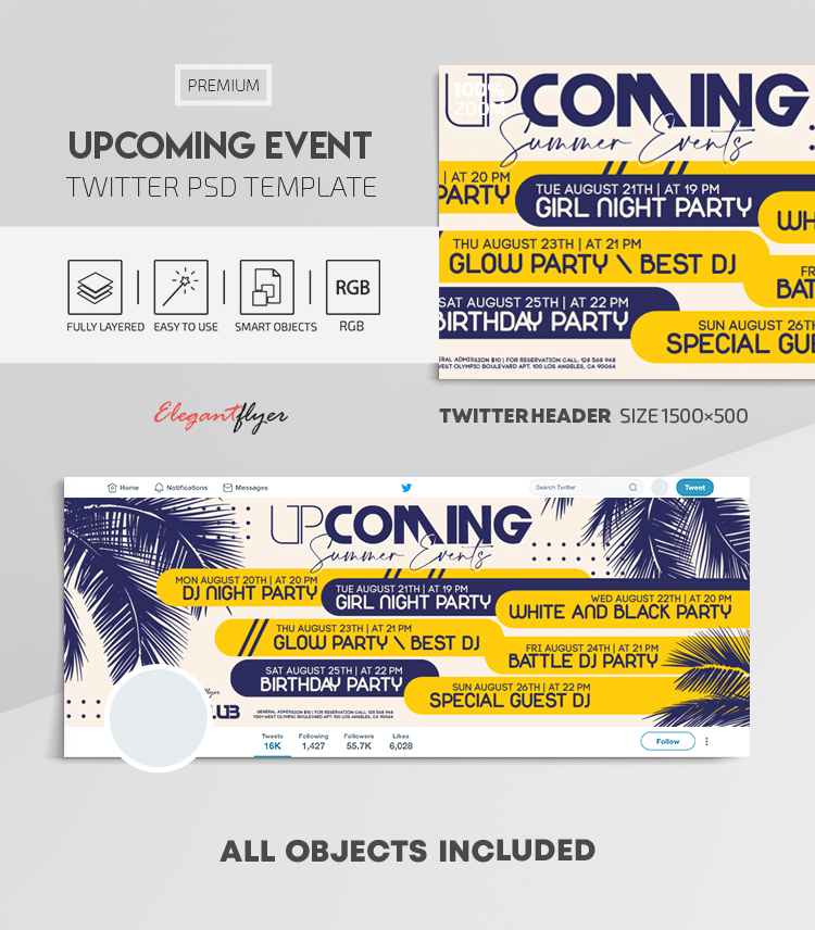Upcoming Event – Twitter Header PSD Template