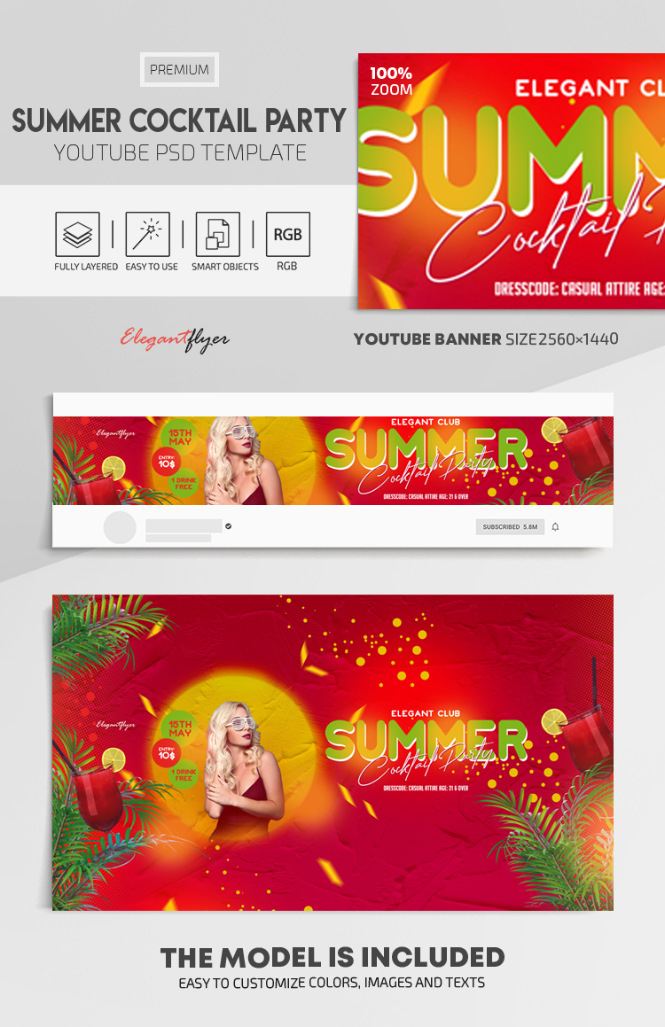 Summer Cocktail Party – Youtube Channel banner PSD Template