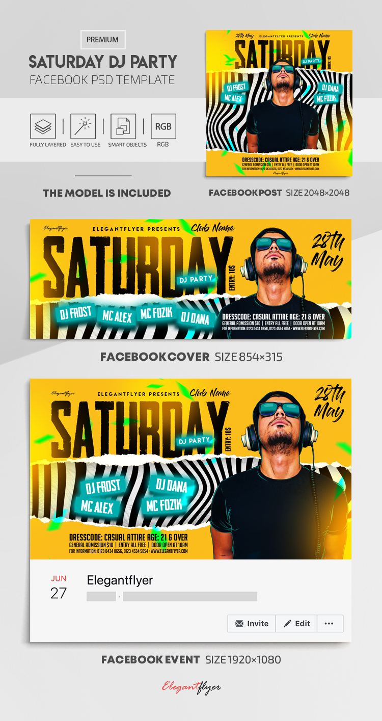 Saturday DJ Party – Facebook Cover Template in PSD + Post + Event cover