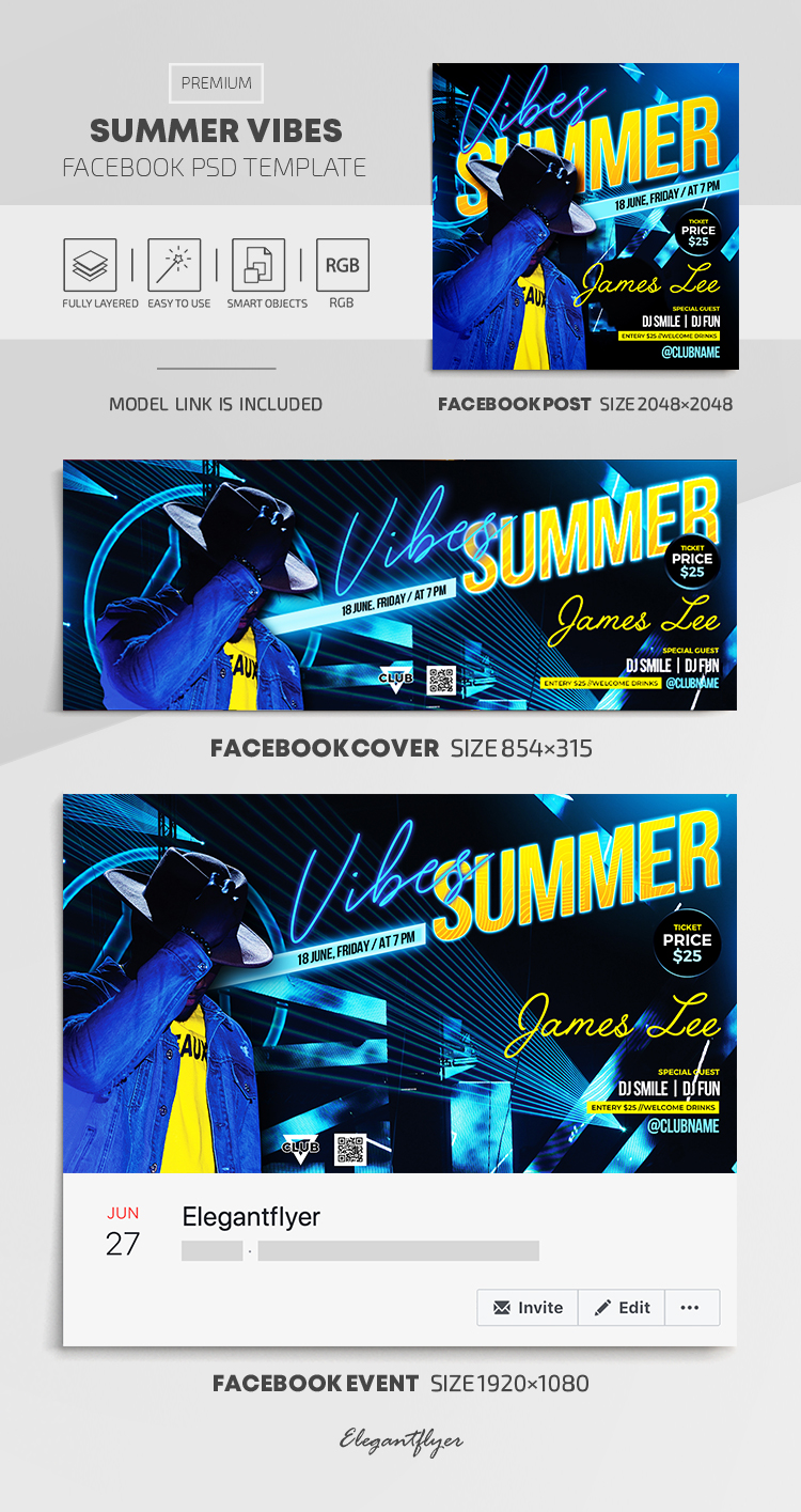 Summer Vibes – Facebook Cover Template in PSD + Post + Event cover