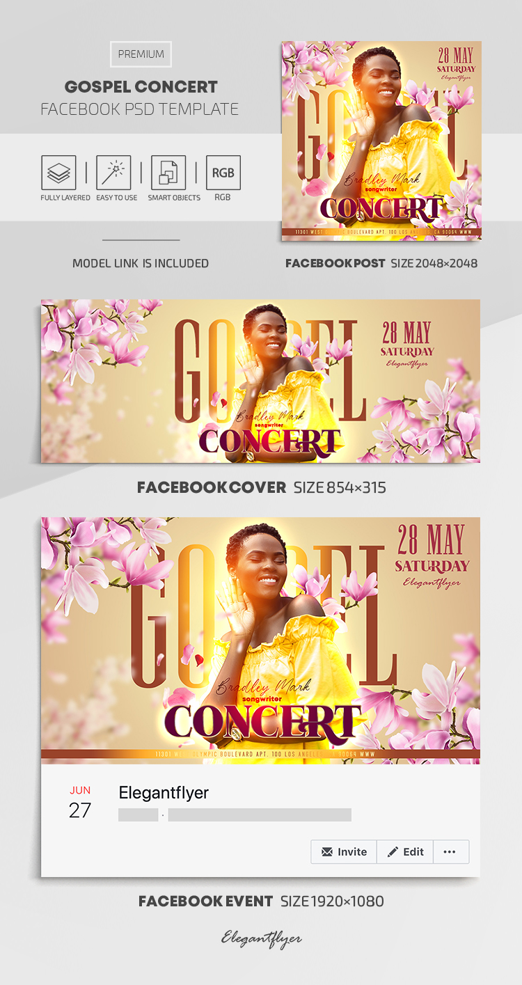 Gospel Concert – Facebook Cover Template in PSD + Post + Event cover