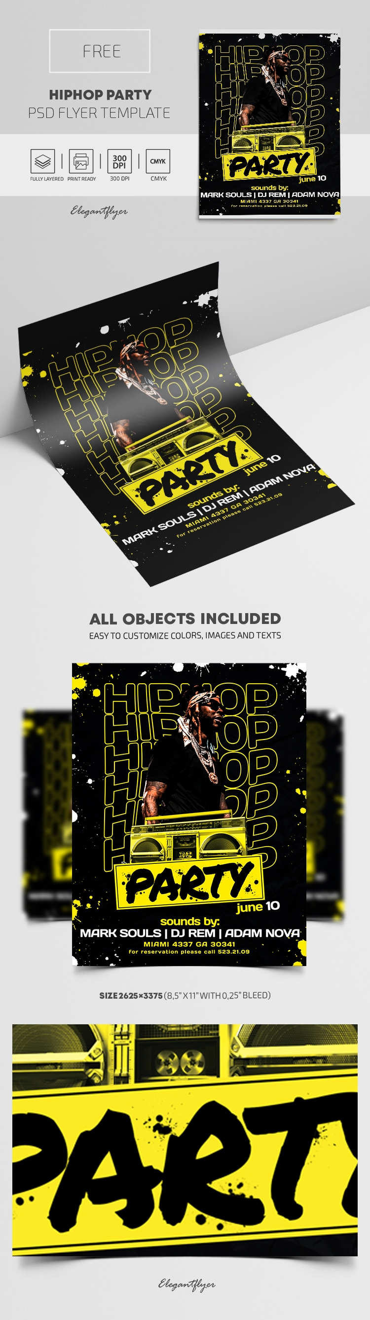 Hip Hop Party – Free Flyer PSD Template