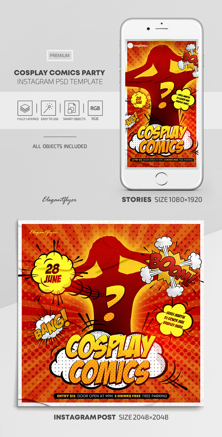 Cosplay Comics Party – Instagram Stories Template in PSD + Post Templates