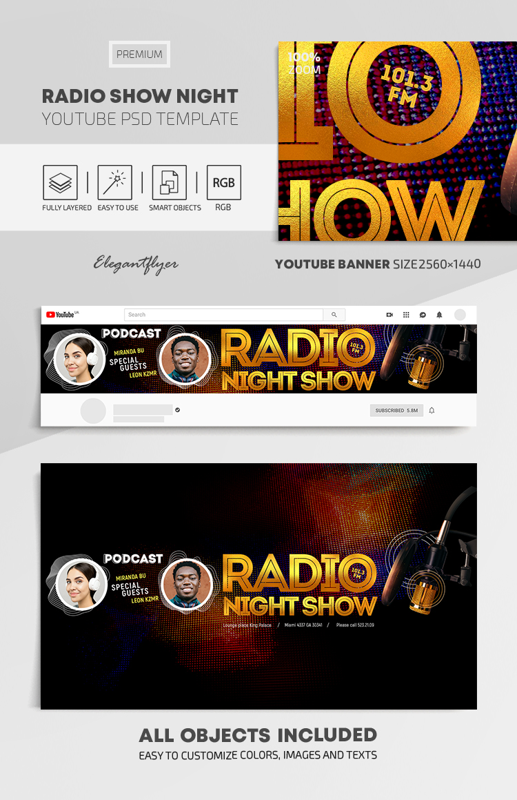 Radio Night Show – Youtube Channel banner PSD Template