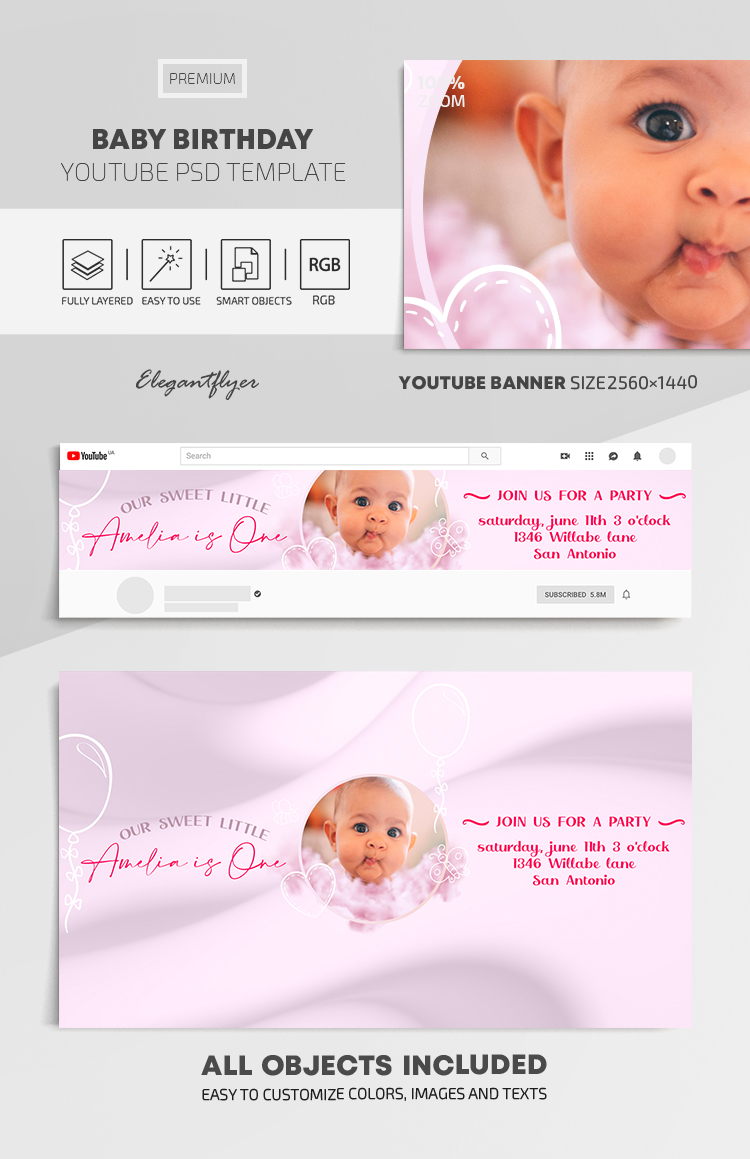 Baby Birthday – Youtube Channel banner PSD Template